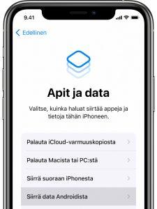 androidista iphoneen siirtyminen apit ja data