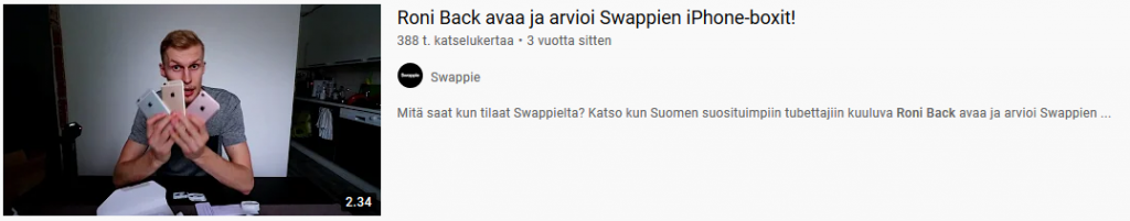 Roni Back Swappie kokemuksia